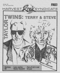Cover of Harvest Rock Syndicate, Win 1987 v. 2, i. 1, featuring Steve Taylor, Terry Scott Taylor